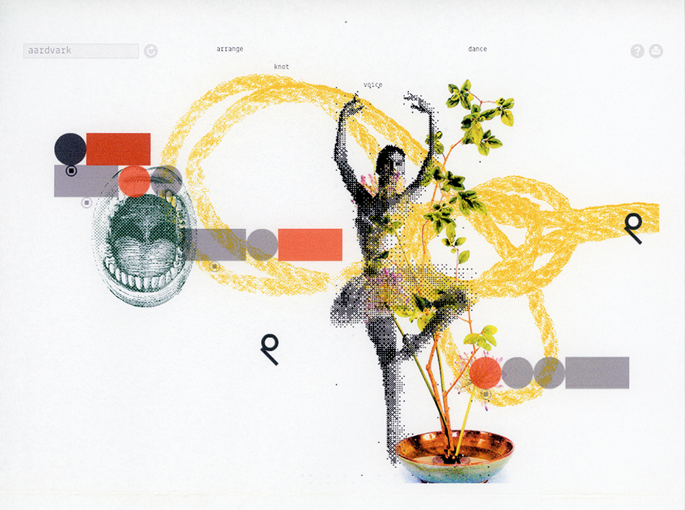 Sample collage from text entry 'aardvark'.